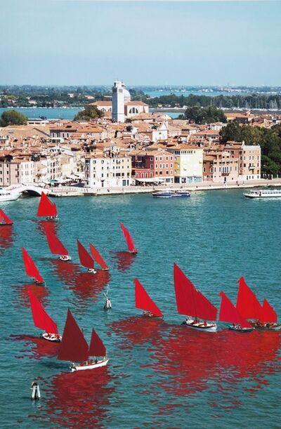 Melissa McGill (b. 1969), 'Red Regatta (Coppa del Presidente della Repubblica, Bacino San Marco)', 2019