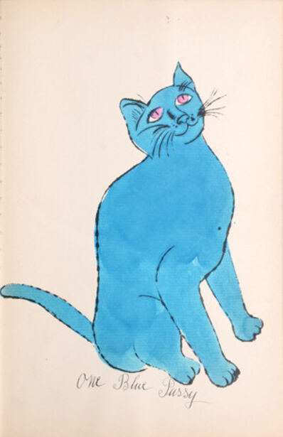 Andy Warhol, 'One Blue Pussy [Sitting blue cat with pink eyes]', 1954