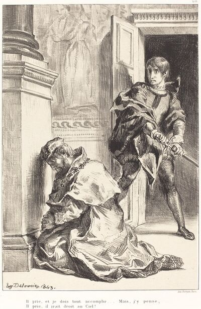 Eugène Delacroix, 'Hamlet is Tempted to Kill the King (Act III, Scene III)', 1834/1843
