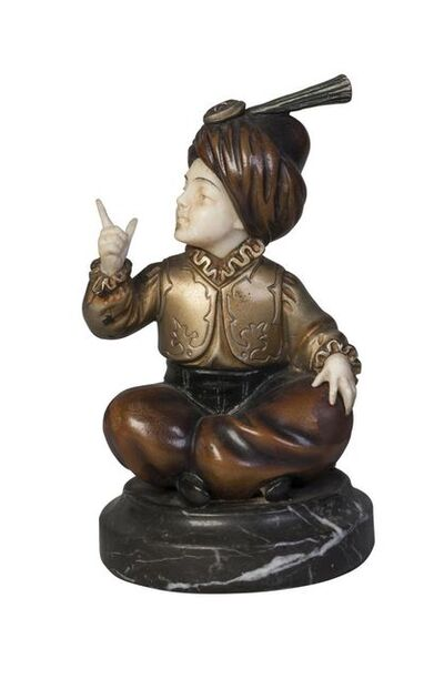 Professor Otto Poertzel, ''Seated boy wearing a turban', a cold-painted bronze and ivory figure', c. 1930