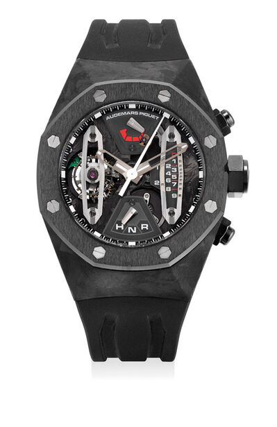 Audemars Piguet, 'An extremely fine and rare forged carbon and ceramic skeletonized tourbillon chronograph wristwatch with sweep center seconds, 237-Hour power reserve, dynamographe indication, warranty and box', Circa 2010