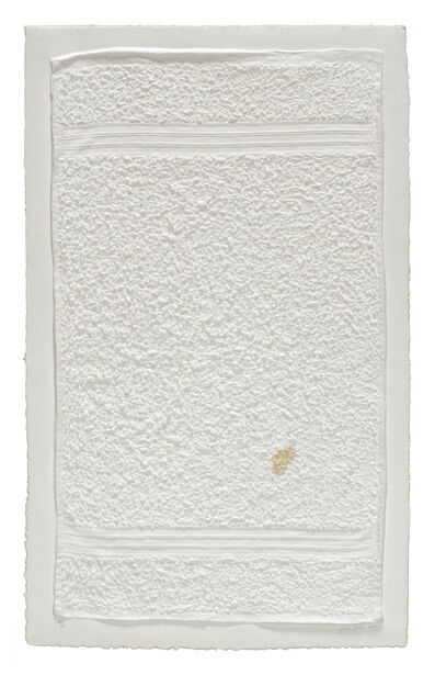 Analía Saban, 'Three Stripe Hand Towel (With Stain)', 2014
