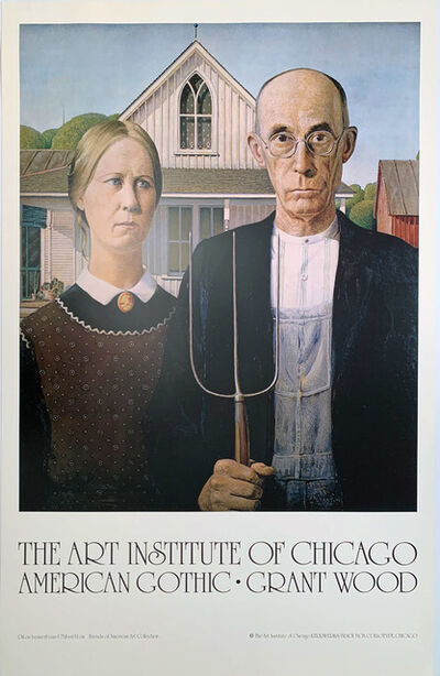 Grant Wood, 'The Art Institute of Chicago, American Gothic, Grant Wood, Continuous Tone (No Dots) Lithographic Poster, HOLIDAY SALE $125 OFF THRU MAKE OFFER', 1985
