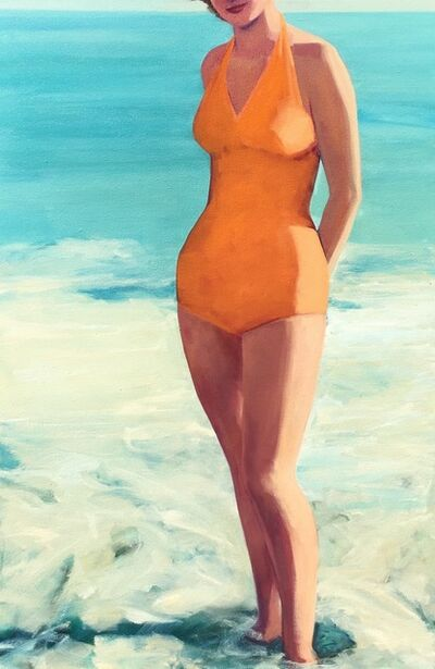 """T.S. Harris, '""""Posing at the Shore"""" Woman in Vintage Orange Bathing Suit Standing in the Turquoise Surf', 2010-2018"""