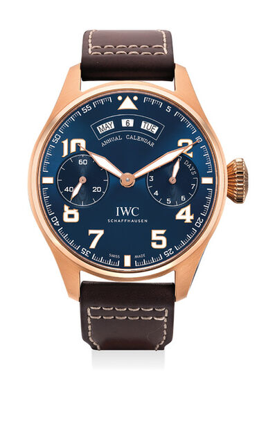 IWC, 'A rare limited edition pink gold wristwatch with annual calendar, International Warranty and box, made in collaboration with the Fondation Antoine de Saint-Exupéry', Circa 2017