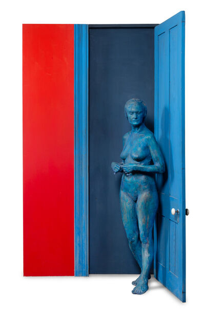 George Segal, 'Blue Girl Behind Blue Door', 1977