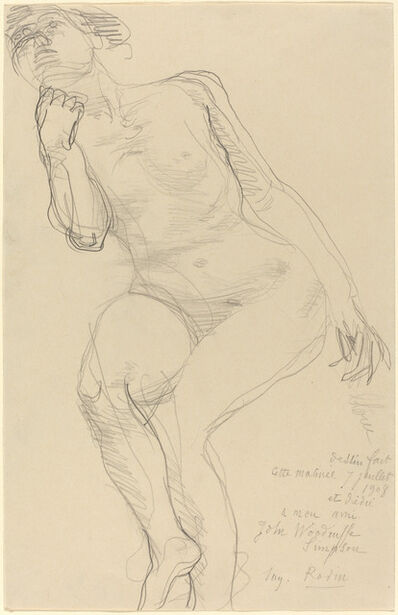 Auguste Rodin, 'Seated Female Nude Leaning to the Left', 1908
