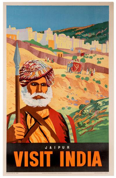 Vintage Travel Poster, 'Visit India, Jaipur', 1930s-1940s