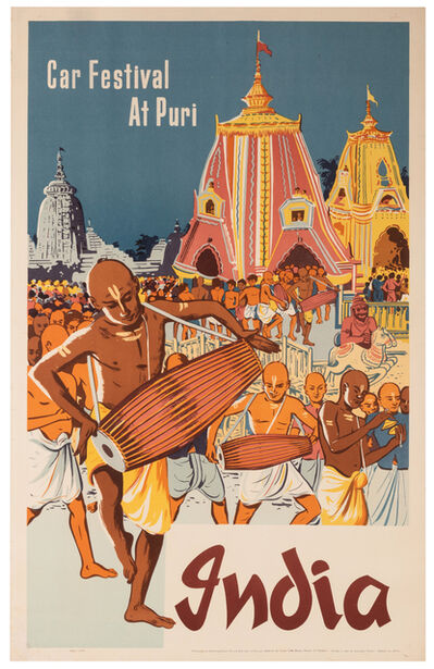 Vintage Travel Poster, 'India, Car Festival at Puri', 1957