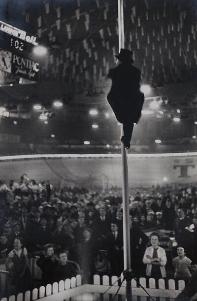 Gerry Cranham, 'Antwerp 6 Days Cycle Race (Man up pole at Velodrome, Antwerp), Feb 1961'