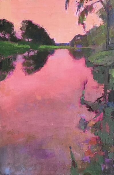 "Larry Horowitz, '""Radiant Pink Sunset"" oil painting of a pink sky reflecting on water ', 2020"