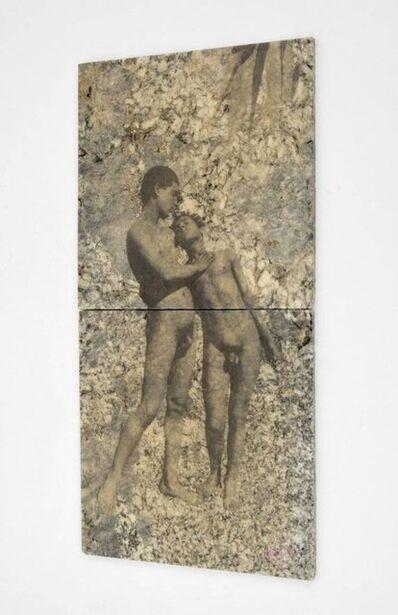 John Baldessari, 'John Baldessari Mixed Media Erotic Art Tile Collage Two Nude Boys Signed Baldo', 1980-1989