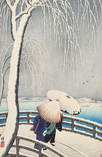 Ohara Koson, 'Snow on Willow Bridge', ca. 1927