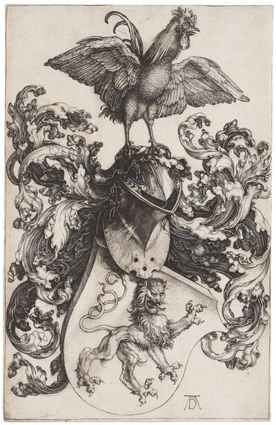 Albrecht Dürer, 'Coat of Arms with a Lion and a Cock (B. 100; M., Holl. 97; S.M.S. 35)', ca. 1502-1503