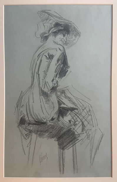 Jules Chéret, 'Smiling female, seated, facing right', ca. 1900