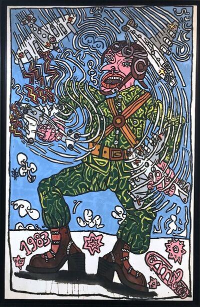 Robert Combas, 'Les Avions Du Soldat Pierrotte. (Il S'Amusait Avec Ses Avions Domestiques Et Soudain Deux Sauvages Attaquent. C'Est L'Horreur ! C'Est La Guerre !).', 1983