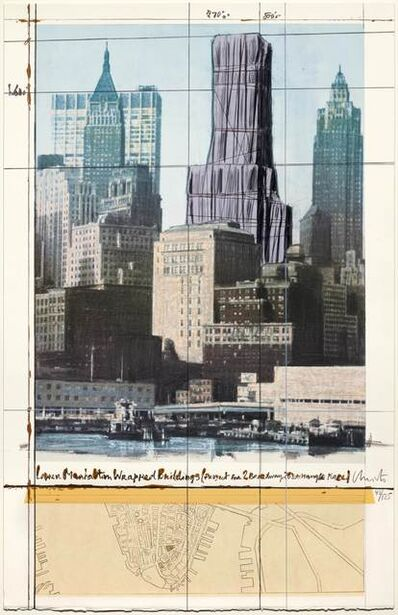 Christo, 'Lower Manhattan Wrapped Buildings, Project for 2 Broadway, 20 Exchange Place', 1991