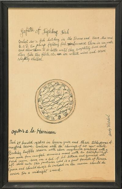 Andy Warhol, 'Oysters a la Harriman from Wild Raspberries, with Recipe by Suzie Frankfurt', 1959