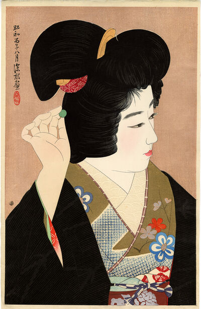 Itō Shinsui, 'Traditional Japanese Beauty Adjusting her Hairpin', 1936