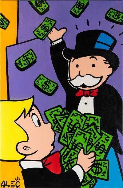 Alec Monopoly, 'Richie Giving $ to Monopoly.', 2019