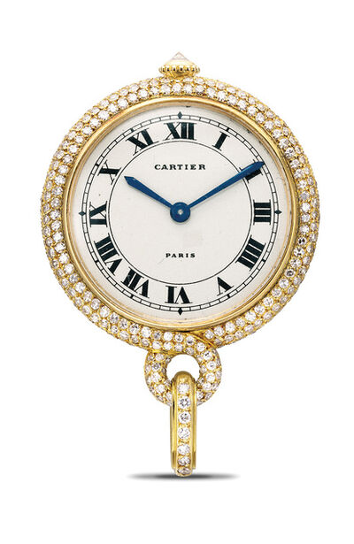 Cartier, 'A lady's fine and attractive yellow gold and diamond-set pendant watch', Circa 1990