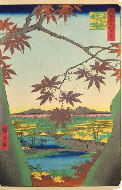 Utagawa Hiroshige (Andō Hiroshige), 'Maple Leaves of Mama at Tekona Shrine', 1857