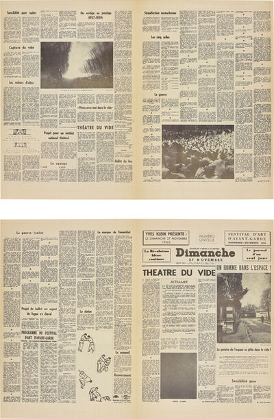 Yves Klein, 'Le Dimanche 27 Novembre 1960: Le journal d'un seul jour (Sunday 27th November: The Journal of a Single Day)', 1960
