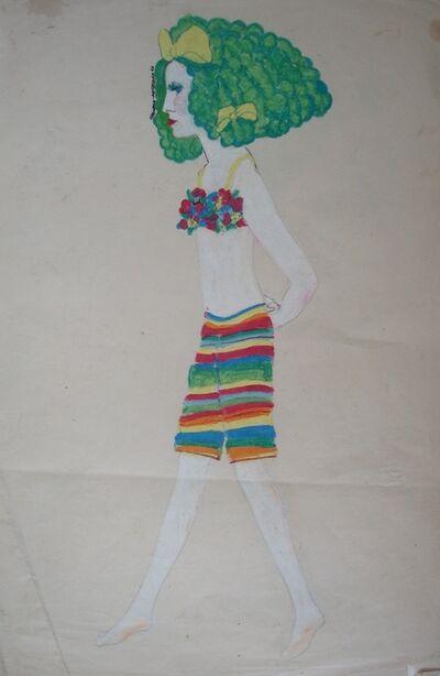 Delia Cancela, 'Chica con pelo verde y rayas', 1966