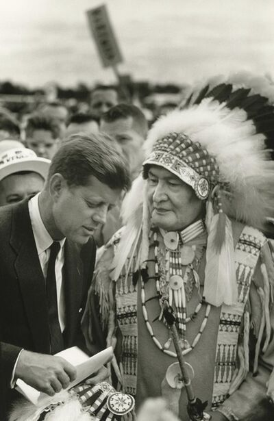 Art Shay, 'Future President John F. Kennedy listening to a Sioux Chief', 1960