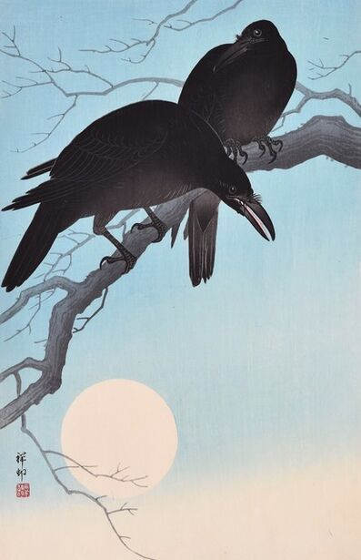 Ohara Koson, 'Crows in Moonlight', ca. 1930s