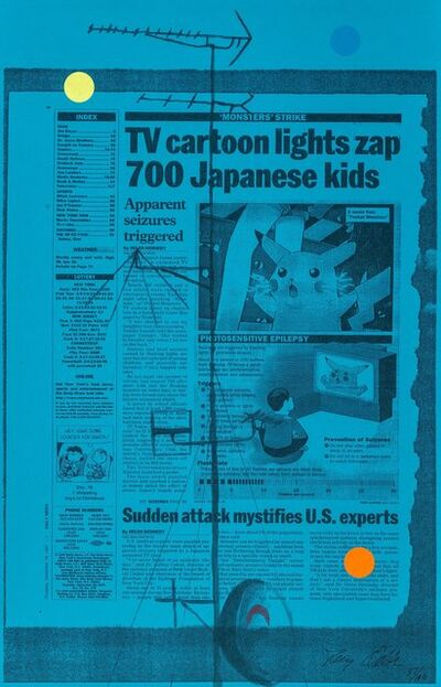 Tony Oursler, 'Untitled (TV cartoon lights zap 700 Japanese kids), triptych', 1998