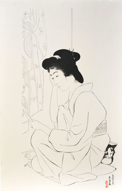 Goyo Hashiguchi, 'Woman with Pocket Mirror and Cat', ca. 1949