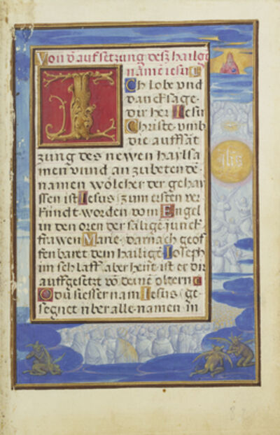 Simon Bening, 'Border with the Adoration of the Name of Jesus', 1525-1530