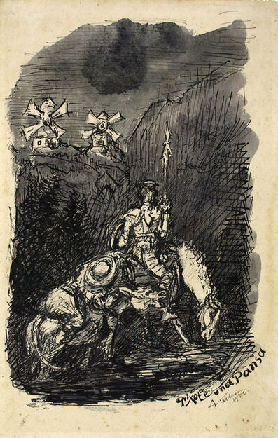 Alfred Kubin, 'Don Quixote and Sancho Pansa', 1950