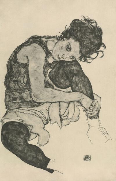 """Egon Schiele, '""""Seated Woman with Bent Knee"""", Zeichnungen (plate I)', 1917"""