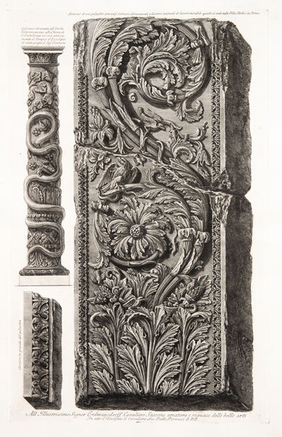 Giovanni Battista Piranesi, 'Fragment of an ornamental pilaster with detail and a column found on the Tiber Island.', 1773-1778