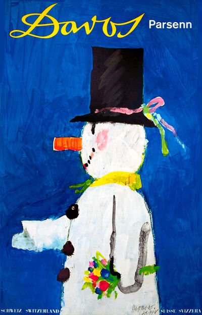 Herbert Leupin, 'Davos Switzerland - Snowman ', 1956