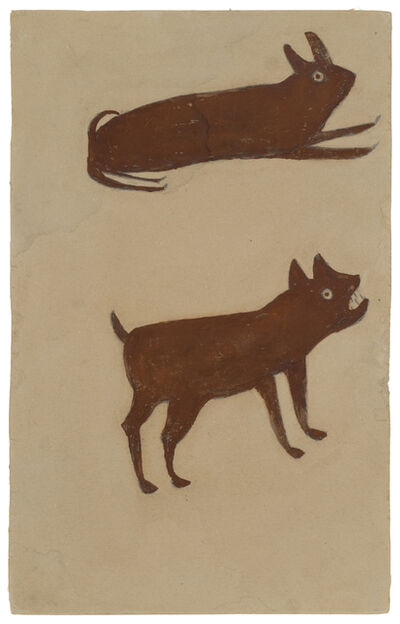Bill Traylor, 'Brown Rabbit, Brown Dog', 1939-1942