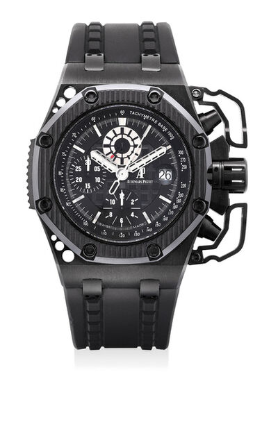 Audemars Piguet, 'A very fine and rare blackened titanium limited edition chronograph wristwatch with oversized chronograph pusher guards, date, certificate and presentation box, numbered 799 of a limited edition of 1000 pieces', 2009