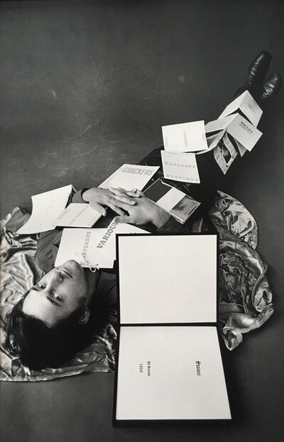 Jerry McMillan, 'Ed Covered with 12 of his Books', 1970