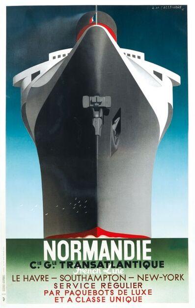 A.M. Cassandre, 'NORMANDIE – C.IE G.LE TRANSATLANTIQUE…. SERVICE REGULIER…', 1935