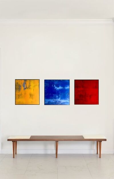James Lahey, 'Abstraction #6 #7 and #1 Acrylic  painting tryptich,  Framed in black iron', 1998