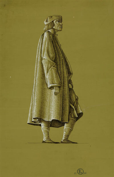 Rockwell Kent, 'Finished Drawing of a Man in Medieval Costume', 1956