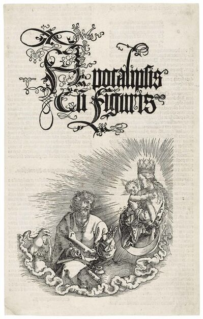 Albrecht Dürer, 'The Virgin and Child appearing to Saint John, title page for: The Apocalypse', 1511