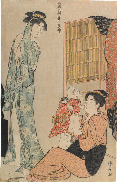 Torii Kiyonaga, 'Current Manners in Eastern Brocade: Woman in Bathrobe and Mother Playing with Baby', ca. 1785
