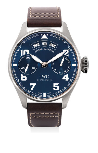 IWC, 'A rare limited edition white gold wristwatch with annual calendar, International Warranty and box, made in collaboration with the Fondation Antoine de Saint-Exupéry', Circa 2017