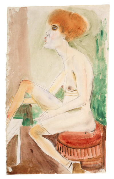 Otto Dix, 'Red-Haired Nude with Red Stockings (Red-Haired Girl)', 1925