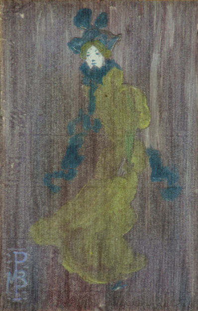 Maurice Brazil Prendergast, 'LADY IN A PALE GREEN DRESS, BLUE HAT AND SCARF (Clark/Mathews/Owens 1563)', ca. 1891