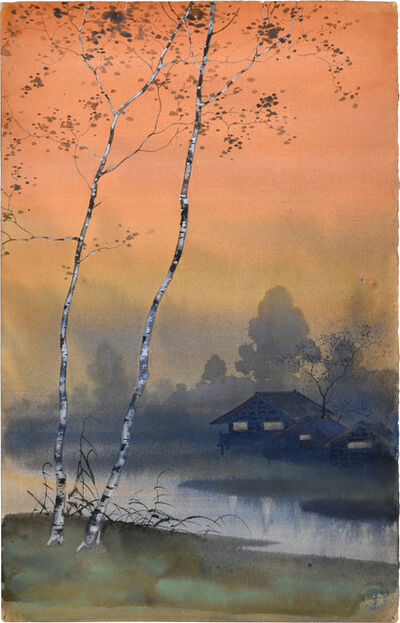 Kakunen Tsuruoka, 'Misty Landscape with Birch Trees Beside Stream and Glowing Orange Sky', n.d.