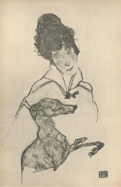 """Egon Schiele, '""""Woman with Greyhound"""", Zeichnungen (plate III)', 1917"""